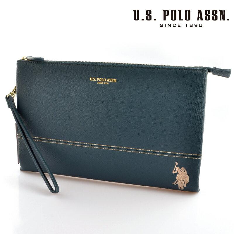 【送料無料・新品・正規品】US POLO ASSN 718144 USPA-1903 ダークグリーン Dark Green サフィアノ クラッチバッグ 【】