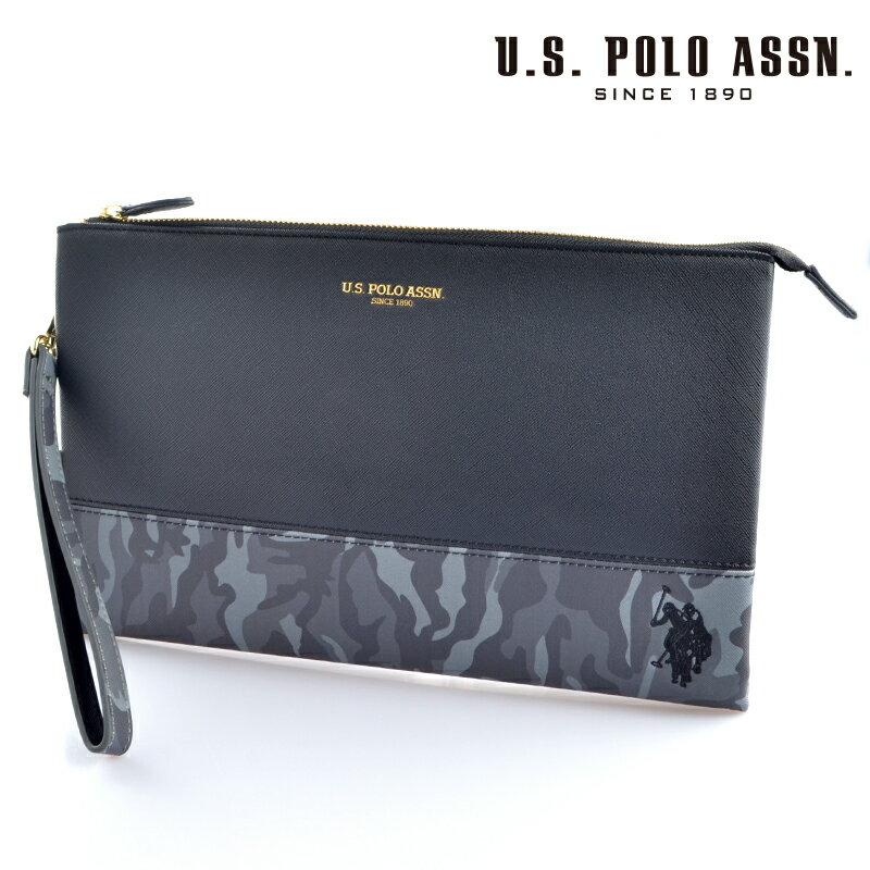 【送料無料・新品・正規品】US POLO ASSN 718207 USPA-1903 ブラック グレーカモフラージュ black Gray Camouflage サフィアノ クラッチバッグ 【】