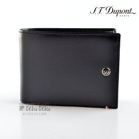 デュポン革小物 180002 ラインD LINE D 二つ折り財布 カード6枚 ブラック 【新品・正規品・送料無料】 ギフト 【】