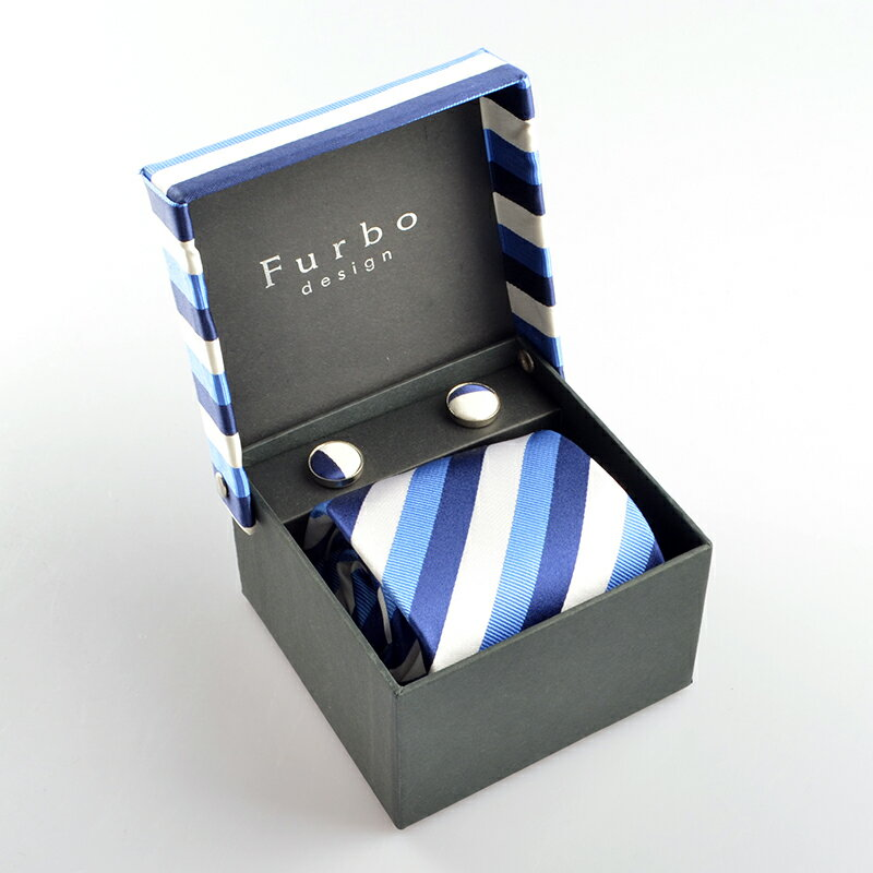 Furbo design (フルボデザイン) 317893 ネクタイ チーフ カフス3点セット tf2011td ギフトBOXセット 【新品・正規品・送料無料】新生活 ギフト 【】