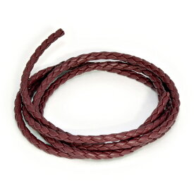 革紐 ウシ紐 日本製 四つ編み牛革ひも 丸紐 幅4.0mm 長さ100cm ワインレッド 濃赤|手芸用品 金具 飾り パーツ 部品 ネックレス レザーコード 皮紐 皮ひも