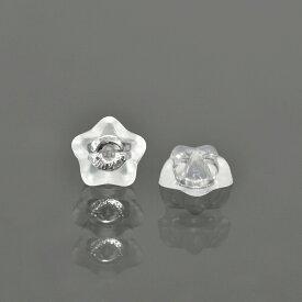 【1個売り】 ピアスキャッチ 14金 ホワイトゴールド シリコン付きキャッチ スター型 軸径0.5mm〜0.7mm用 ピアスロック ダブルロック 星|K14WG 14k 貴金属 ジュエリー レディース