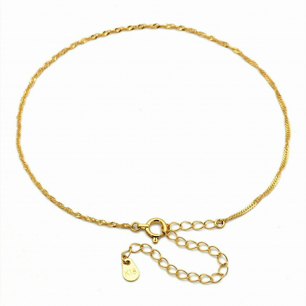 【18金イエローゴールド】スクリューチェーン・アンクレット(1.3mm/24cm)「鎖/K18YG/18k・貴金属ジュエリー」
