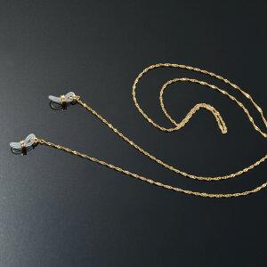 メガネチェーン 18金 イエローゴールド スクリューチェーン Wドーナツ型 幅1.6mm 長さ70cm|眼鏡 めがね用品 鎖 K18YG 18k 貴金属 ジュエリー レディース メンズ