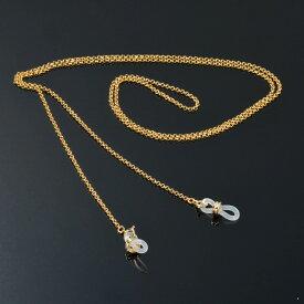 メガネチェーン 18金 イエローゴールド ロールチェーン Wドーナツ型 幅1.7mm 長さ70cm|眼鏡 めがね用品 鎖 K18YG 18k 貴金属 ジュエリー レディース メンズ