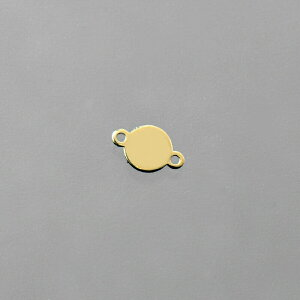 【1個売り】 チャームパーツ 18金 イエローゴールド プレートチャーム ラウンド型 両側環付き 縦4.5mm 横3.0mm コネクタパーツ 丸型 マル型|手芸用品 金具 飾り パーツ 部品 K18YG 18k 貴金属