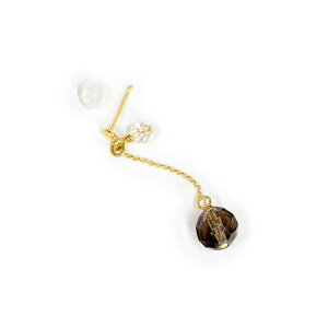 【バラ売り/1個】 ピアス 18金 イエローゴールド 天然石 水晶とスモーキークォーツのスタッドピアス 直径4.0mm 6.0mm|K18YG 18k パワーストーン 貴金属 ジュエリー レディース メンズ