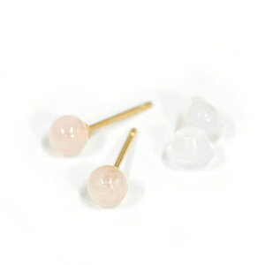 【バラ売り/1個】 ピアス 18金 イエローゴールド 天然石 ローズクオーツのスタッドピアス 直径4.0mm|K18YG 18k パワーストーン 貴金属 ジュエリー レディース メンズ