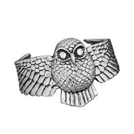 バングル サージカルステンレス 大きく翼を広げたフクロウをモチーフにしたデザインバングル 内周普通サイズ 梟 ふくろう オウル|カフブレスレット 腕輪 医療用ステンレス アクセサリー レディース メンズ