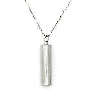 ペンダントトップ サージカルステンレス シンプルな筒型のネジ式ロケットペンダント 直径16.0mm 高さ65.0mm 銀色 シルバー ネックレスチェーン付き カプセル カロート 遺骨入れ 薬入れ ピルケ