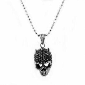 ペンダントトップ サージカルステンレス たっぷりのキュービックジルコニアで飾られた角付きスカルのペンダント 黒 ブラック ネックレスチェーン付き 髑髏 骸骨|医療用ステンレス アクセサリー レディース メンズ