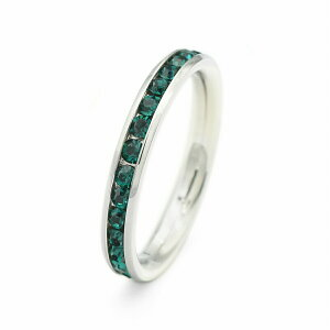 指輪 サージカルステンレス 一周ぐるり水晶のフルエタニティリング レール留め エメラルドグリーン|医療用ステンレス アクセサリー レディース メンズ
