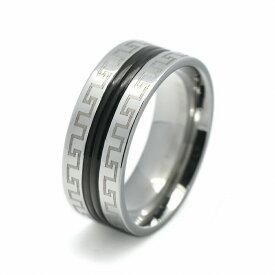 指輪 サージカルステンレス 黒のラインとギリシア雷文模様入りのリング メアンダー模様 らいもん|医療用ステンレス アクセサリー レディース メンズ