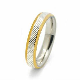 指輪 サージカルステンレス センターライン斜めカット模様入り両サイドゴールドのリング 銀色 シルバー 金色 ゴールド|医療用ステンレス アクセサリー レディース メンズ