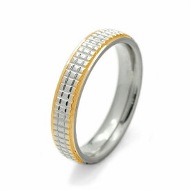 指輪 サージカルステンレス 格子状のカット入り両サイドゴールドのリング 銀色 シルバー 金色 ゴールド|医療用ステンレス アクセサリー レディース メンズ