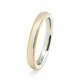 指輪 サージカルステンレス 両サイドゴールドの一周ギザギザカット加工リング 幅3.0mm 銀色 シルバー 金色 ゴールド|医療用ステンレス アクセサリー レディース メンズ