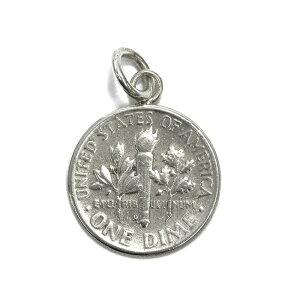 ペンダントトップ シルバー925 アメリカ古銭使用 ルーズベルトダイム10セント硬貨ペンダント 表面:松明 裏面:ルーズベルト 1946年〜1964年 ペンダントヘッドのみ 10CENT DIME|コイン 銀 Silver アク