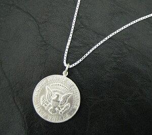 ペンダントトップ シルバー925 アメリカ古銭使用 ケネディー50セント硬貨ペンダント 表面:大統領の紋章 裏面:ケネディー 1964年 ネックレスチェーン付き 50CENT ハーフダラー|コイン 銀 Silver