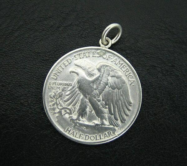 アメリカ古銭使用!ウォーキングリバティー50セント硬貨 ハーフダラー 50CENT(1916〜1947年)(イーグル×女神)(ネックレスチェーン付きペンダントトップ)「コイン/銀/シルバーアクセサリー/シルバー925」