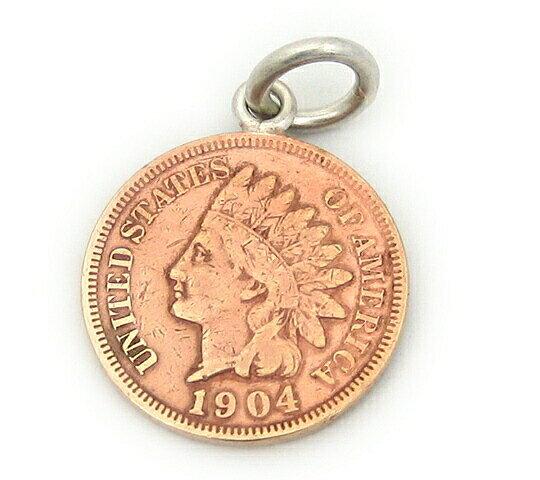 アメリカ古銭使用!インディアンヘッドペニー1セント硬貨ペンダント 1CENT(1859〜1909年)(インディアン×ONECENT)(ネックレスチェーン付きペンダントトップ)「コイン/銀/シルバーアクセサリー/シルバー925」