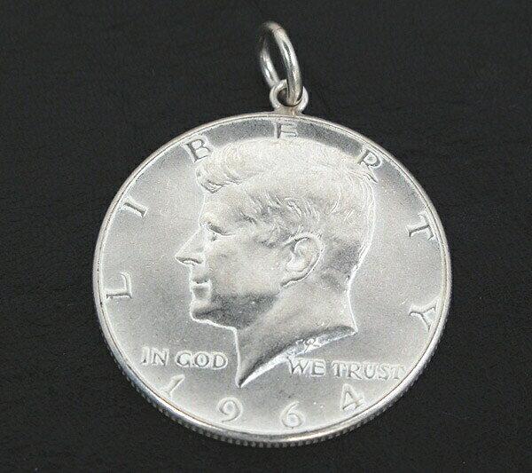 アメリカ古銭使用!ケネディー50セント硬貨 ハーフダラー 50CENT(1964年)(ケネディー×大統領の紋章)(ネックレスチェーン付きペンダントトップ)「コイン/銀/シルバーアクセサリー/シルバー925」