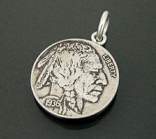 アメリカ古銭使用!バッファローニッケル5セント硬貨 5CENT(1913〜1938年)(インディアン×バッファロー)(ネックレスチェーン付きペンダントトップ)「コイン/銀/シルバーアクセサリー/シルバー925」