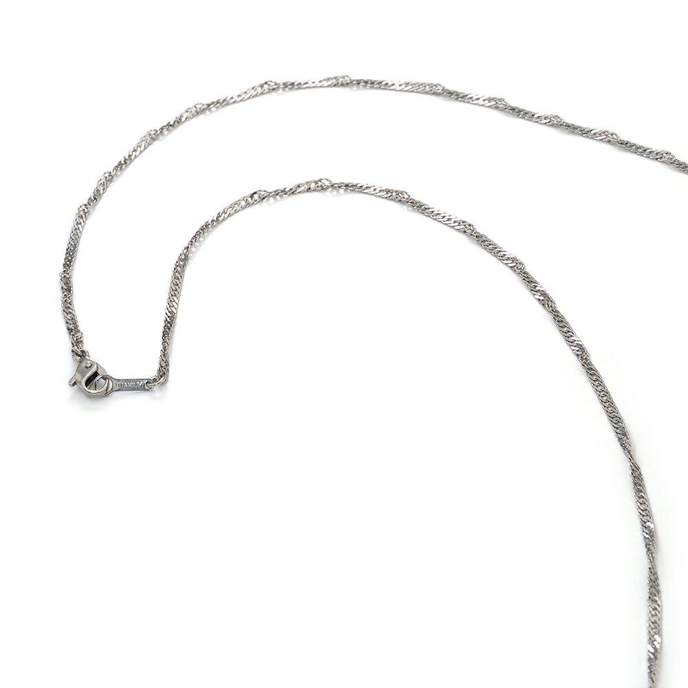 【明るい色の純チタン】スクリューチェーン・ネックレス(2.3mm/38cm)「鎖タイプ/チタンアクセサリー」