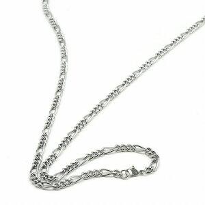 ネックレス チェーン 明るい色の純チタン フィガロチェーン 幅5.8mm 長さ45cm 鎖 チタン アクセサリー メンズ