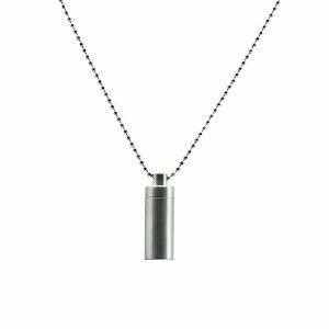 ペンダントトップ チタン 軽量でストレスフリー シンプルな筒型のネジ式ロケットペンダント マット加工 直径12.0mm 高さ35.0mm 銀色 シルバー ネックレスチェーン付き カプセル カロート 遺骨