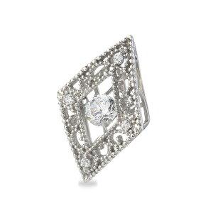 ペンダントトップ 18金 ホワイトゴールド 天然石 主石が揺れるメレ付きのダイヤ型透かしデザインペンダント 主石の直径約4.4mm ダンシングストーン ペンダントヘッドのみ|K18WG 18k 貴金属 ジ