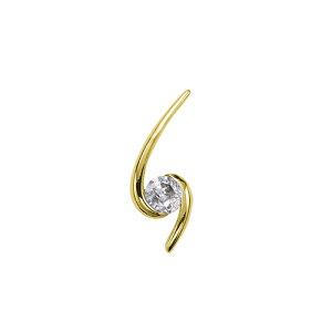 ペンダントトップ 18金 イエローゴールド 天然石 スパイラルモチーフの一粒ペンダント 主石の直径約5.2mm レール留め ペンダントヘッドのみ K18YG 18k 貴金属 ジュエリー レディース メンズ
