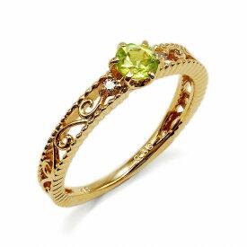 指輪 18金 イエローゴールド 天然石 ミル打ちと透かしのサイドストーンリング 主石の直径約3.8mm 六本爪留め|K18YG 18k 貴金属 ジュエリー レディース メンズ