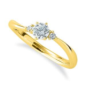 指輪 18金 イエローゴールド 天然石 サイドストーンリング 主石の直径約3.8mm ウェーブ 六本爪留め K18YG 18k 貴金属 ジュエリー レディース メンズ
