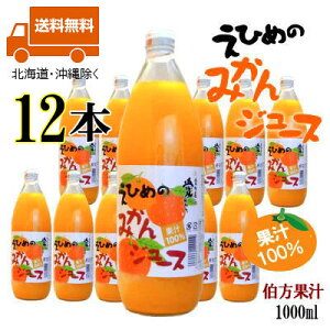 えひめのみかんジュース1L瓶×12本 伯方果汁(株)愛媛ミカンジュース果汁100% 1000ml【送料無料(北海道・沖縄除く)】