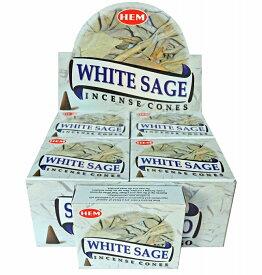 【限定特別価格】「HEM コーン香12個入り ホワイトセージ 素敵なプレゼント付!!」ヘム WHITE SAGE/お香/激安/インド/