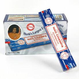 【特別価格】「サイババナグチャンパ香15g(12箱セット) 素敵なプレゼント付」世界的に有名な、甘く芳しい香り!NAGCHAMPA/インド/激安/お香/