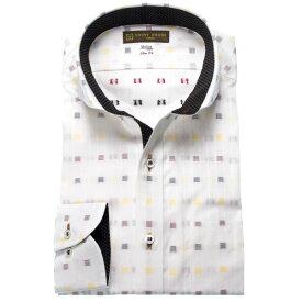 SHIRT HOUSE スリムフィット(カジュアル) 白刺し子風ドビー地ワイドカラー メンズ長袖 ワイシャツ スマートカジュアル
