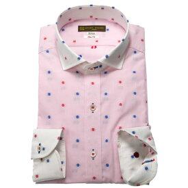 SHIRT HOUSE スリムフィット(カジュアル) ピンク刺し子風ドビー地クレリックセミワイドカラー メンズ長袖 ワイシャツ スマートカジュアル