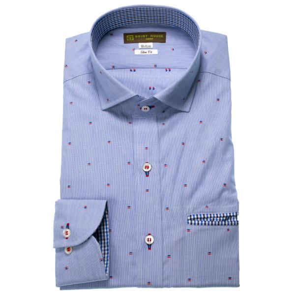SHIRT HOUSE スリムフィット(カジュアル) ブルーストライプ刺し子風ドビー地セミワイドカラー メンズ長袖カジュアルシャツ ワイシャツ