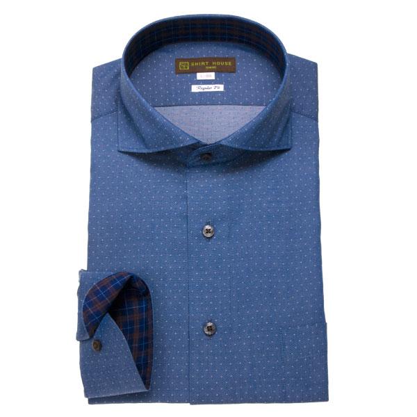 ワイシャツ メンズ ドレスシャツ シャツ シャツハウス レギュラー フィット ブルー デニム ジーンズ 水玉 ドット ワイドカラー