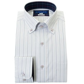 ワイシャツ 形態安定 M L LL 2L 3L 長袖 2020秋冬 新作 紫 パープル ストライプ ボタンダウン 標準 オフィスカジュアル シャツハウス メンズ ドレスシャツ 0622SS