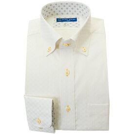 ワイシャツ 形態安定 S M L LL 2L 長袖 2021春夏 新作 イエロー ドビー ボタンダウン スリム 細身 オフィスカジュアル シャツハウス メンズ ドレスシャツ 2108ft 0904SS