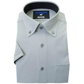 ワイシャツ ニット 半袖 2021夏 新作 ノーアイロン グレー チェック ボタンダウン スリム フィット シャツハウス 半袖 メンズ ドレスシャツ 2106ft 0622SS