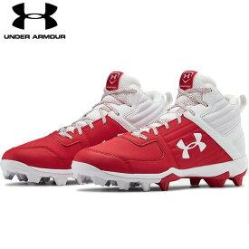 送料無料【USA物】 アンダーアーマー 野球 ポイント スパイク メンズ UNDER ARMOUR Men's UA Leadoff Mid RM 靴 シューズ ベースボール 赤/白 レッド ホワイト ミッド
