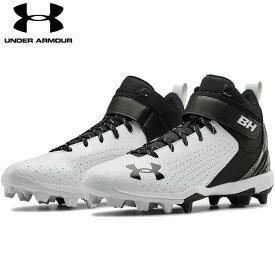 送料無料【USA物】 アンダーアーマー 野球 ポイント スパイク メンズ UNDER ARMOUR Harper 5 Mid RM ブライス・ハーパー 選手モデル 靴 シューズ ベースボール 黒/白 ブラック ホワイト ミッド