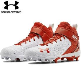 送料無料【USA物】 アンダーアーマー 野球 ポイント スパイク メンズ UNDER ARMOUR Harper 5 Mid RM ブライス・ハーパー 選手モデル 靴 シューズ ベースボール 赤/白 レッド ホワイト ミッド
