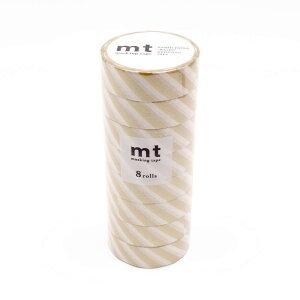 mt マスキングテープ 8P ストライプ・金 MT08D377