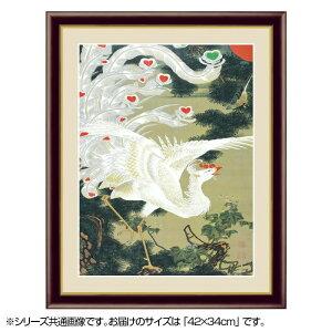 アート額絵 伊藤若冲 「老松白鳳図」 G4-BN071 42×34cm