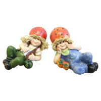 かわ畑ディスプレイとしてかわいい♪置物寝そべり人形イチゴ2SET1801HUN005