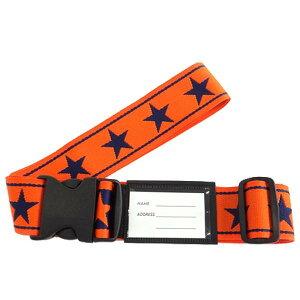 スーツケースベルト ワンタッチベルト ビッグスター柄 オレンジ×紺 [ラッピング不可][代引不可][同梱不可]